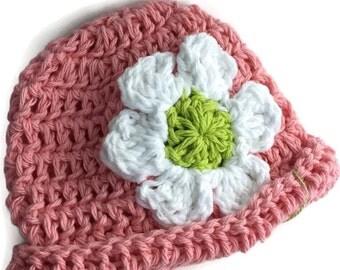 Cotton rolled brim newborn Beanie, infant hat,soft pink with daisy flower trim