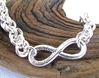 Men's Silver Infinity Symbol Handmade Chain Mail Jen's Pind Chain Fathers' Day Husband Brother Boyfriend Gift