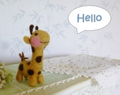 Giraffe needle felted sculpture toy  collectible  wool felt