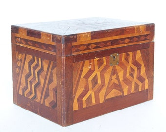 Vintage Wooden Marquetry Jewelry Box