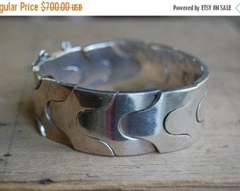 SALE Modernist Mexican sterling silver puzzle bracelet ∙ signed RTA modernist Mexico snake bracelet