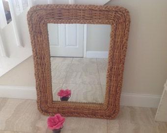 BRAIDED WICKER MIRROR Bohemian Bamboo Wicker Mirror / Vintage Wicker Mirror / Braided Mirror Bohemian Island Style at Retro Daisy Girl