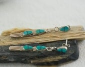 Vintage Native American Southwestern Sterling Silver Turquoise Two Piece Dangle Post Style Pierced Earrings  .....6017