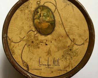 Tindeco, Lavender Tin, early mid century