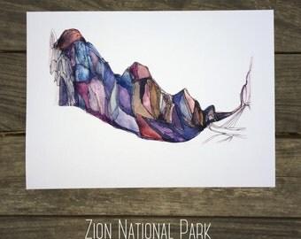 Zion Canyon Utah  watercolor National Park  fine art print  kat ryalls 2016