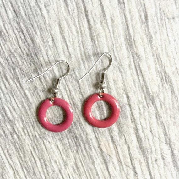 enable dark pink ring on stainless steal hook, pendent, les perles rares, handmade