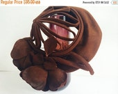 French Lea Clostre Felt 1940s Couture Hat Open Millinery Brown