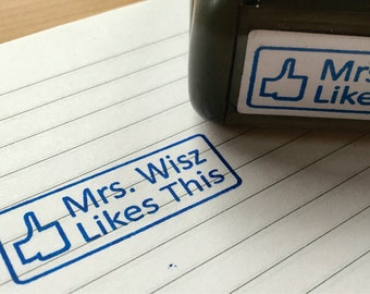 Facebook Like Stamp - Custom Teacher Facebook Like Button Rubber Stamp - Custom Teacher Gift - Custom Self-inking Facebook Rubber Stamp