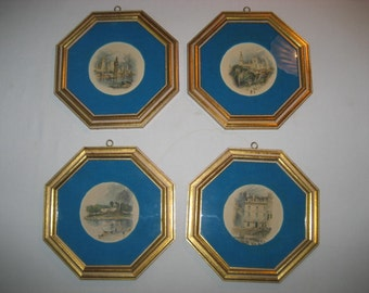 four vintage framed J W Turner colored engraving prints