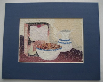 vintage original paper collage still life with mat