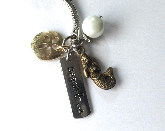 Mermaid keychain, Beach Themed Keychain,  Beach Love, with sand dollar and faux pearl charms