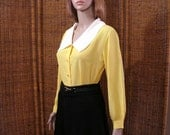 Vintage 1960s Blouse Bright Yellow Long Sleeve Portrait Collar Shirt Top / Medium to Large