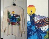 Vintage 1980's Surfboard Surfer California Coastline San Diego souvenir long sleeve pocket T-shirt size Large tropical beach sunset ocean