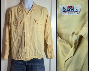 Vintage 1940's Campus Gabardine Loop Shirt size Large plain Yellow Rockabilly Swing As-is