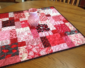 Valentine Hodge Podge 27 inch quilted table topper