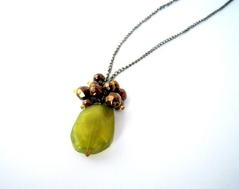 Olive Green Pendant Necklace, Brown and Green Necklace, Long Boho Pendant Necklace, Drop Necklace, Dark Chain, Gift for Fashionista