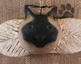 Siamese Cat Angel Ornament, OOAK, hand-sculpted from papier mache, CAT ANGEL Ornament