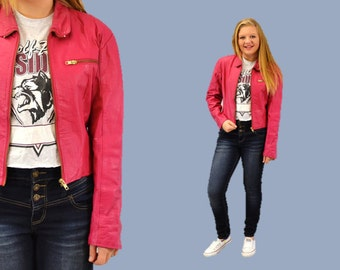 Leather Jacket Hot pink zip up hipster
