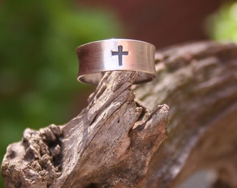 Sterling Silver Cross Christian Oxidized Boho Southwestern Statement Ring