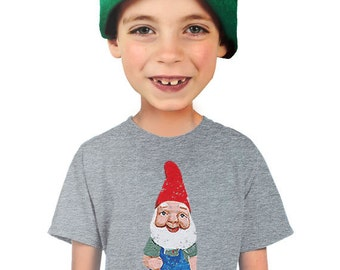 gnome shirt youth t-shirt funny kitschy garden gnome gifts for boys fantasy nerd tee geek geeky hip cool shirts small medium large xlarge