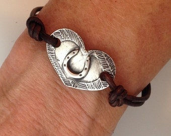 Heart Horseshoe fine silver and leather bracelet, cowgirl jewelry, horse lover jewelry, horse and rider jewelry