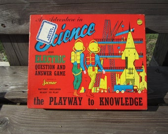 Vintage Electric Jacmar Science Game from 1950's ... Q&A game in working condition