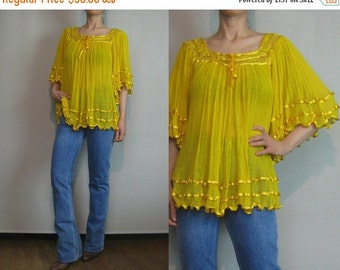 FALL SALE 70s COTTON Gauze Vintage Golden Gold Yellow Angel Bell Sleeve Indian Sheer Crochet Blouse Shirt Top xs Small Medium 1970s 1980s