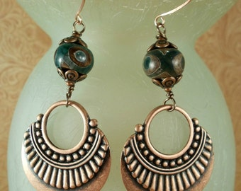 Earrings - Gypsy Cowgirl - Green and Brown Tibetan Agate with Copper Plated Tribal Dangles
