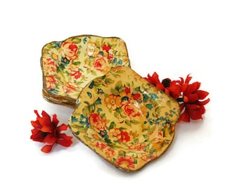 Vintage Paper Mache Bowls in Florentine Design (c.1950s) Four Small Bowls for holding Trinkets and Jewelry, Pretty Home Decor