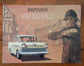 Vintage brochure for Vauxhall automobile circa 1960 car memorabilia full color advertising Foldout Vauxhall Victor Super and Estate Wagon