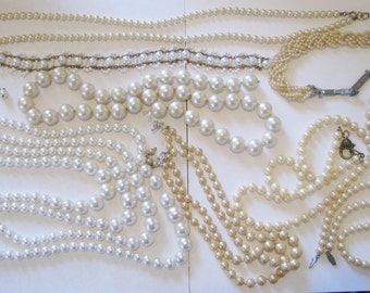 Destash of Pearl beads and Necklaces