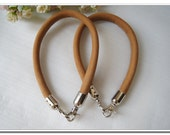 a pair of quality cow leather purse handles bag handles with silver/ anti brass end stopper