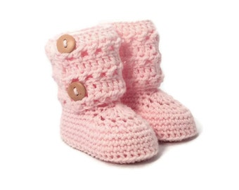 Tall Eyelet Lace Button Cuff Baby Booties in Pink Merino Wool