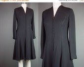 40% OFF 60s 70s Black Dress Vintage 1960s Fit Flare Party Cocktail Crepe Holiday Peck & Peck B 36 W 32 M