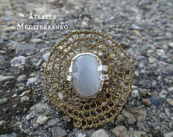 Metal Work And Crochet Ring Sterling Silver And Brass Ring With White Cat's Eye Stone Size 5.5.