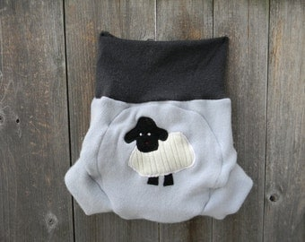 Upcycled Cashmere/ Wool Soaker Cover Diaper Cover With Added Doubler Gray / Light Blue  With Baa Baa Sheep Applique LARGE 12-24M