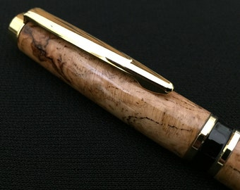 Pen - Cherry Burl with Gold and Black Hardware