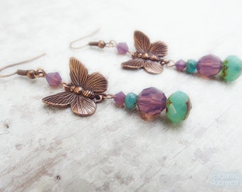Butterfly Garden ~ Aged Copper Whimsical Fantasy earrings with Swarovski crystals and picasso czech glass
