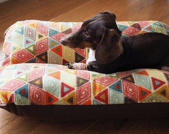 Dog Bed, Dachshund Dog Bed, BUNBED, Bright Colorful Southwestern Shapes on Fleece, Triangles Hot Dog Bed, Bun bed