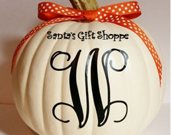 Halloween Pumpkin - Monogram Initial - Vinyl Decal - Home Decor - Halloween - Children