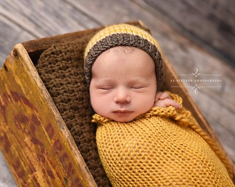 Golden Mustard Yellow Swaddle Sack Newborn Baby Photography Prop