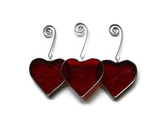 Stained Glass Hearts - Set of 3 in Red Textured Glass Suncatchers Holiday Ornaments