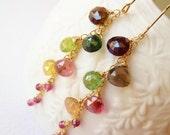 SALE Watermelon Tourmaline long gold earrings. Dangle earrings. Jewelry Gift ready to ship. Tourmaline earrings. October birthstone.