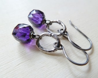 Amethyst earrings. February Birthstone earrings. Drop earrings. Artisan silver earrings. Purple Amethyst silver earrings. Gift for her