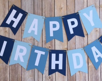 NEW! | * Sale*  | Shades of Blue Happy Birthday Banner | First Birthday Banner | Photo Prop