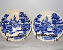 Lakeview Japan Nasco 2 Saucers China White and Blue Home and Garden Kitchen and Dining Serveware Tableware Dinner Sets