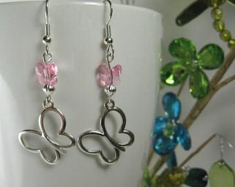 Butterfly earrings, surgical steel earrings, crystal pink butterfly, dangle drop, jewelry earrings, dangling, nickel free earrings