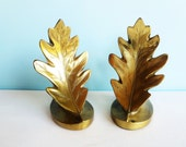 Vintage Brass Bookends - Philadelphia Manufacturing Company - Brass Leaf Bookends