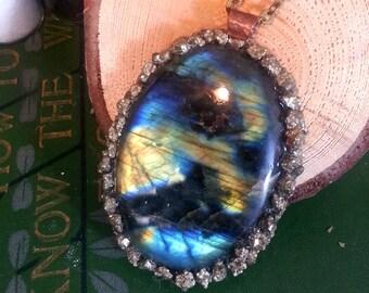 Labradorite and Pyrite Pendant, Crushed Pyrite, labradorite, aurora borealis, Gold, Fools Gold, Gypsy boho, Metaphysical, Gemstone