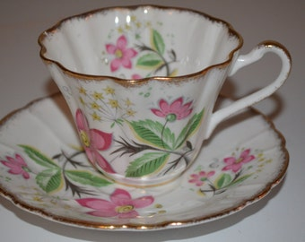 Royal Stafford cup and saucer - bone china England - pink flower - gold